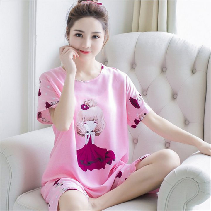 Lovely thin sweet spring and summer pajamas a set