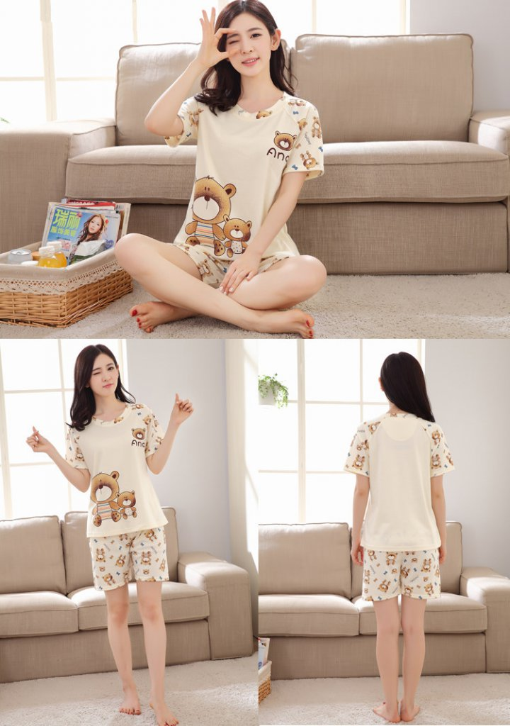 Summer Casual shorts short sleeve pajamas 2pcs set for women