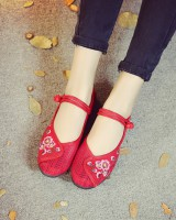 Embroidered cloth shoes rubber tet shoes