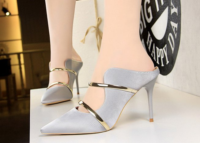 Sexy metal stilettos pointed satin slippers for women