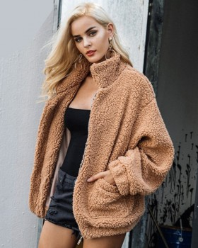 Plush faux fur long sleeve pocket coat for women