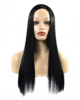 Black European style headgear long white wig for women