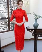 Chinese style banquet formal dress bride Chinese full dress
