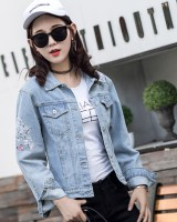 All-match embroidery loose coat denim short tops for women