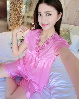 Ice silk sexy shorts short sleeve pajamas 2pcs set for women