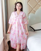Short sleeve night dress pajamas 2pcs set for women