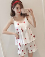 Strawberries sling pajamas sexy shorts 2pcs set for women