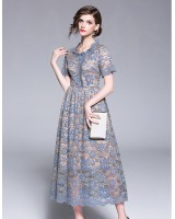 Hollow temperament lace elegant round neck summer long dress