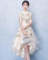 Elegant cheongsam long and short in front dress