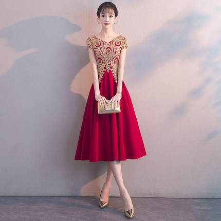1897b1a72b7 Spring and summer evening dress Korean style dress for women YW32400 ...