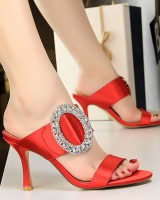 High-heeled satin fashion metal slippers