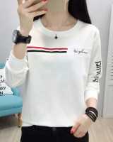 Summer round neck T-shirt long sleeve slim hoodie for women