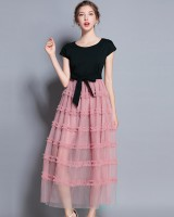 With belt pink gauze splice wood ear skirt for women