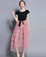 Pink splice gauze wood ear with belt dress for women