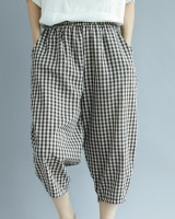Plaid summer cotton linen loose enlarge casual pants for women
