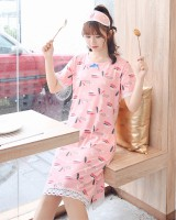 Short sleeve night dress summer pajamas for women
