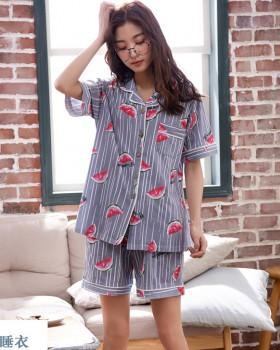 Homewear imitation silk cardigan short sleeve pajamas