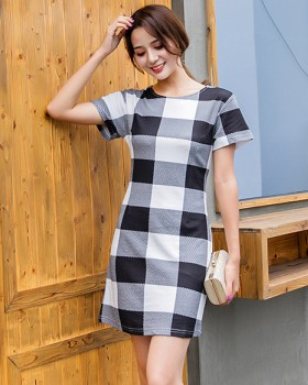 Plaid ant slim large yard bottoming dress for women