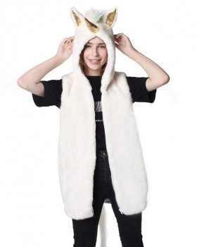Long faux fur autumn and winter hooded fur coat
