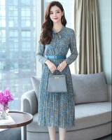 Floral chiffon long dress slim Korean style dress for women