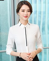 Long sleeve business suit white shirt for women