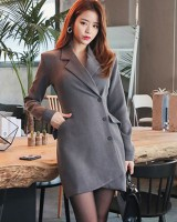 Single-breasted long overcoat slim all-match dress
