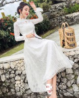 Ladies lace dress temperament spring and autumn long dress
