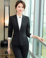 Temperament student business suit slim long pants 3pcs set
