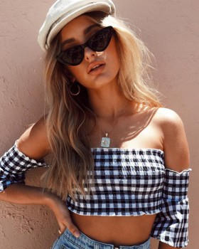 Plaid tops wrapped chest T-shirt for women