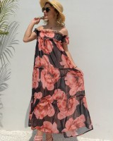 European style vacation long dress printing dress