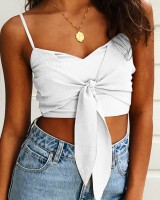 European style wrapped chest Casual vest pure navel tops