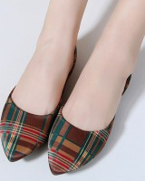 Flat national style pointed colors shoes for women