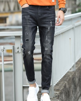 Fashion autumn patch long pants denim black jeans for men