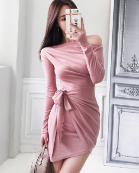 Temperament frenum slim autumn sloping shoulder dress