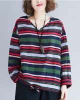 Mixed colors V-neck retro stripe tops for women