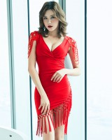 V-neck slim lace T-back temperament summer dress for women