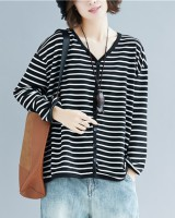 Stripe fat tops large yard loose coat