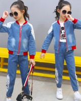 Girl big child fashion denim Casual child  2pcs set