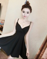 Cover belly slim strap dress low-cut night show dress