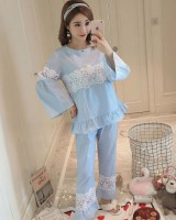 Spring and autumn pure cotton pajamas 2pcs set for women