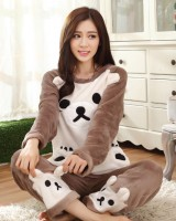 Flannel long sleeve autumn and winter homewear pajamas a set
