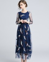 Autumn embroidered flowers gauze European style dress