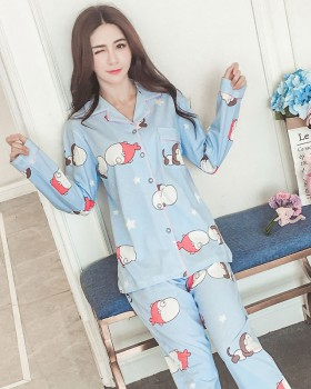 Casual pajamas spring and autumn cardigan 2pcs set for women