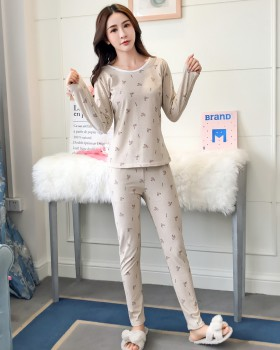 Casual pajamas warmth underware 2pcs set for women