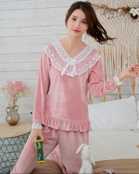 Autumn and winter velvet long sleeve pajamas 2pcs set