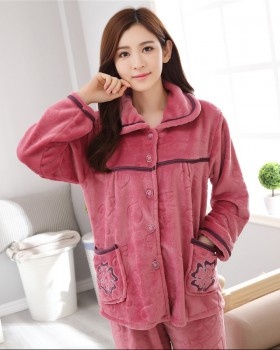 Flannel coral velvet pajamas thick winter cotton coat a set