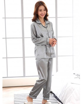 Simple lapel homewear cardigan autumn thin style pajamas