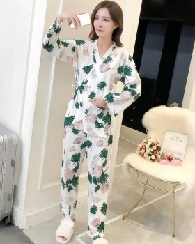 Autumn and winter kimono pajamas 2pcs set for women