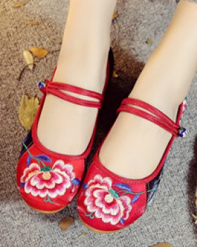 Satin national style embroidered cloth shoes for women