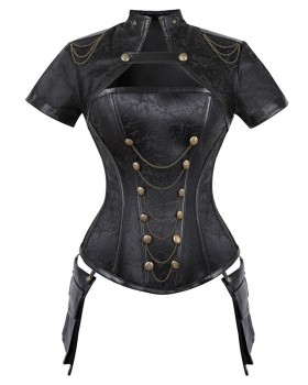 Punk style zip corset reinforced court style shawl